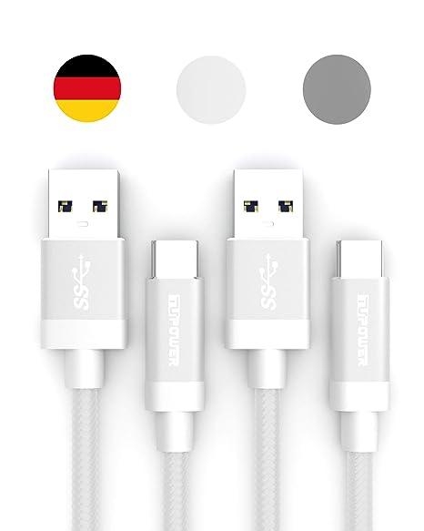TUPower K16 USB C Kabel 0,3m auf USB 3.0 Doppelpack geeignet als Quickcharge Kabel für: Samsung Galaxy S10 S9 S8 Plus Typ C L