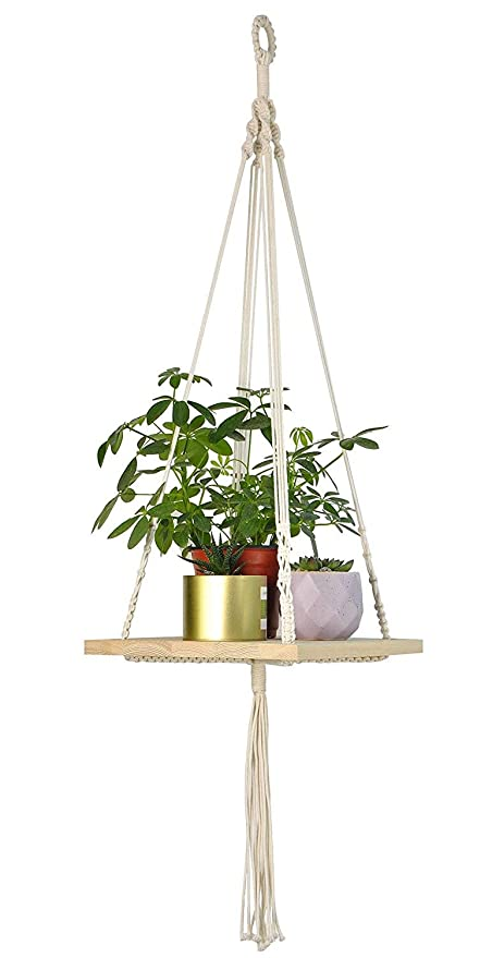 Power Source with Wood Plate Hanging Shelf Macrame Plant Hanger Flower Pot Holder Boho Home Decor