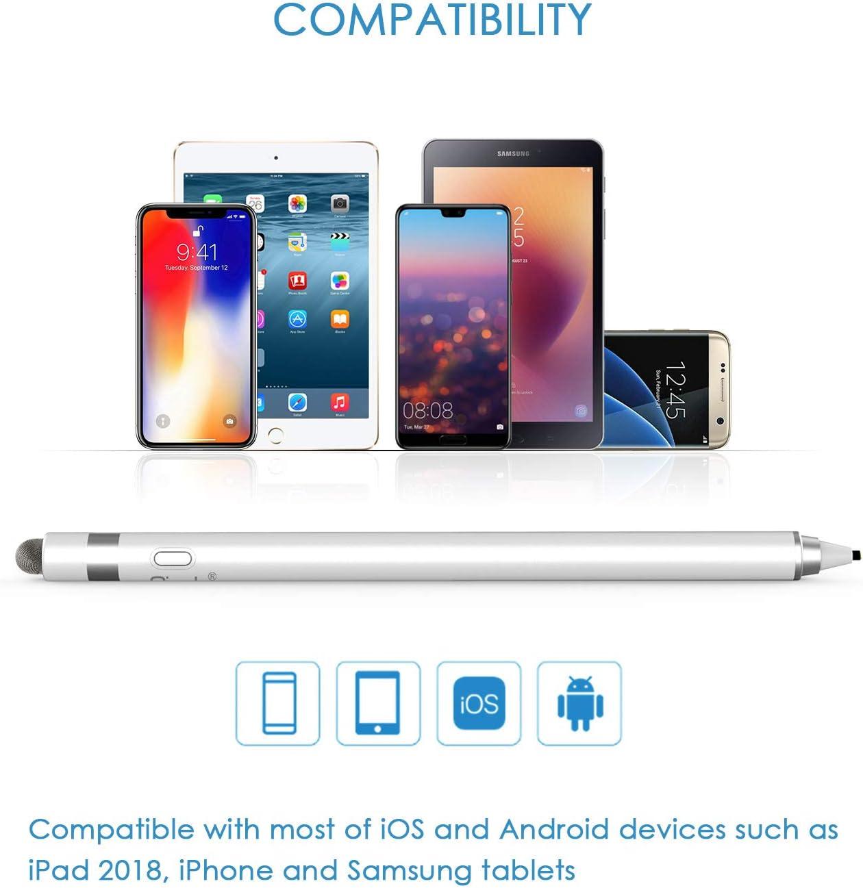 Ciscle Stylet 2 en 1 Noir Compatible avec iPad Pro//iPad 2018 iPhone Stylet Tactile Rechargeable /à Pointe en cuivre de 1,5 mm avec Mise Hors Tension Automatique et Pointe en Fibre Samsung