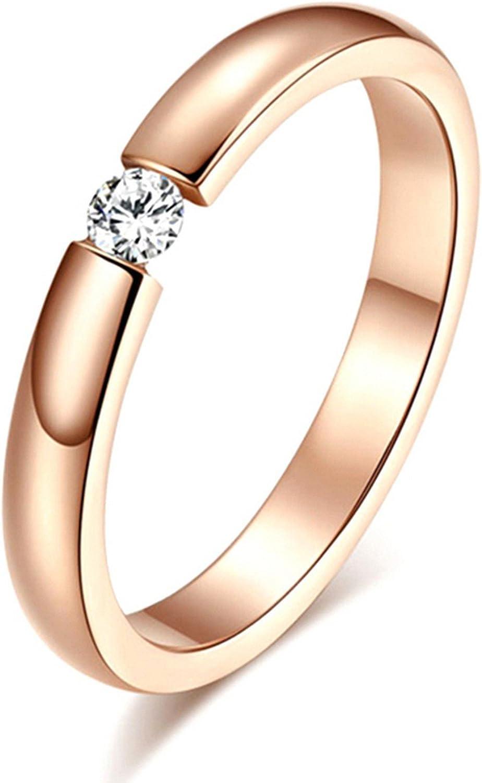 Gemmart Allergy Single Women Stainless Steel cz engagement ring