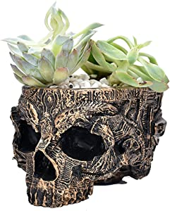Skull Planter Plant Flower Pot Head Gifts Christmas Potted Small Succulent Pots Decor Bowl Mini Version Resin Home Gardening Special Creative Decorations Outdoor Halloween Suitable Plants Party