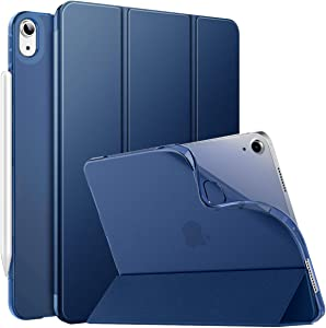 MoKo Case Fit New iPad 10.9 inch, iPad Air 4th Generation Case 2020, Smart Trifold Stand Slim Folio Case with Soft TPU Frosted Translucent Back Cover Fit iPad Air 4 2020, Auto Wake/Sleep, Navy Blue