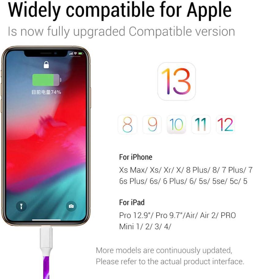 Purple 3.3ft LED Flowing Light USB Charging Cable LED Lights USB Charger for Phone 6plus 6s Plus 7 7plus 8 8plus XR XS 11 Pro Max
