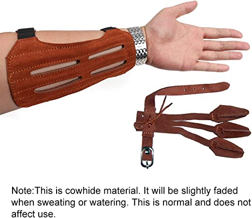 2 Set Toparchery Protector Arm Guard+3 Straps Finger Gloves Gear For Bow Hunting