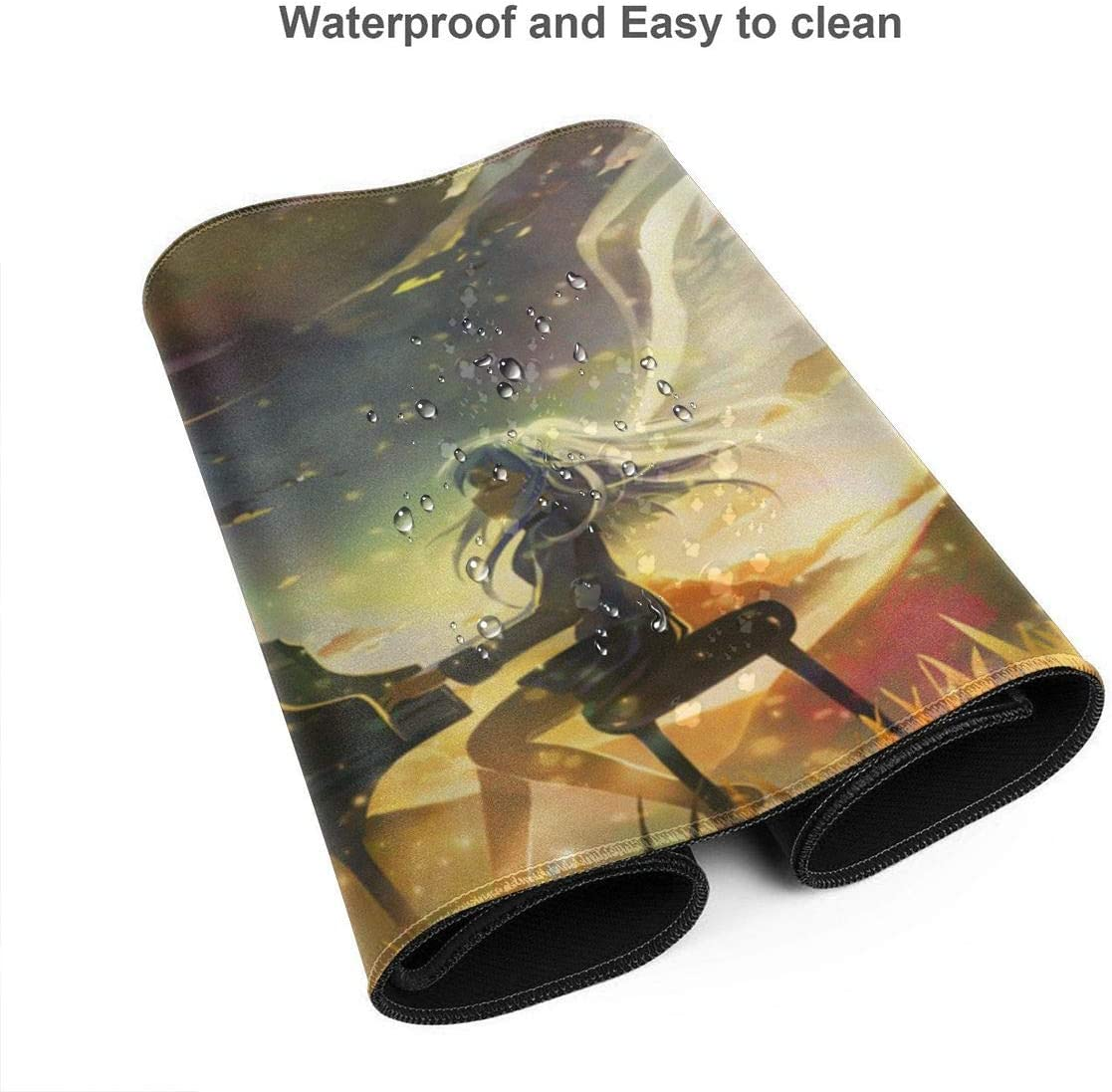 Anime Large Gaming Mouse Pad Custom Designed Stitched Edge Waterproof Non-Slip Rubber Bottom Mouse Pad Ideal for Laptops and Computers15.8x35.5 in Angel Beats