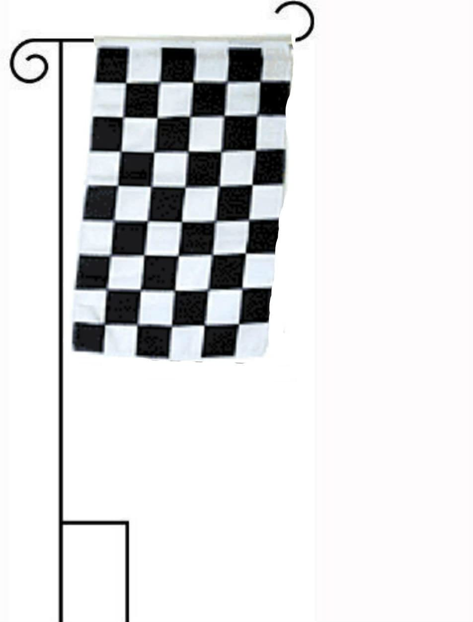 "12x18 12""x18"" Black and White Checkered Race Sleeved w/ Garden Stand Flag"