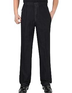 4d0851d8 Zoulee Men's Full Elastic Waist Denim Pull On Jeans Straight Trousers