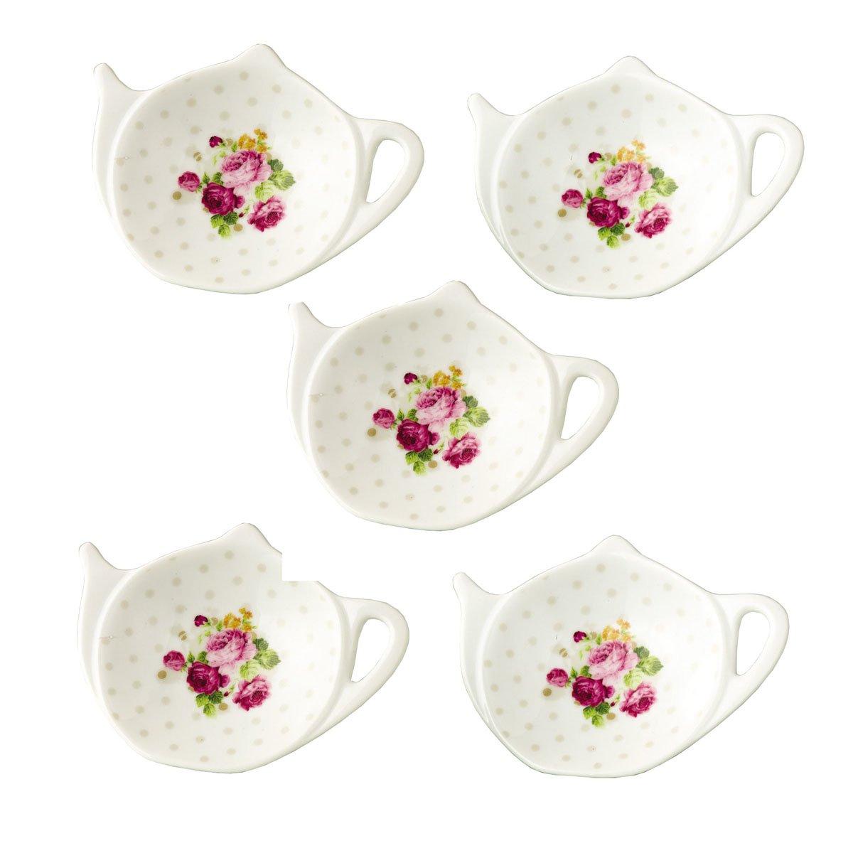 White Porcelain Ceramic Set with Flower Trim Teapot-Shaped Tea Bag Holder Tea Bag Coasters, Spoon Rests; Classic Tea Saucer Seasoning Dish Set (XQX)