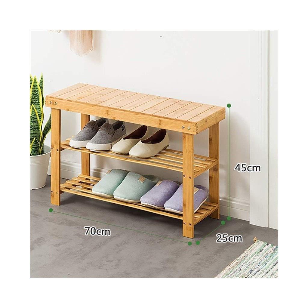 702545cm Double shoes Bench Bamboo shoes Rack Corridor Bench Home Rack (Size   90  25  45cm)