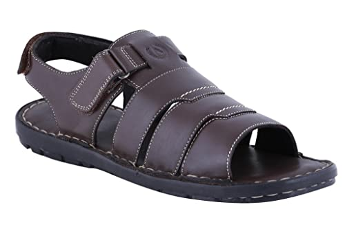 6892731b56d79 Amster Men Brown Genuine Leather Sandals  Buy Online at Low Prices in India  - Amazon.in