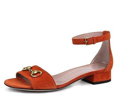 d1b9d4c6c Amazon.com: Gucci Suede Ankle Strap Horsebit Sandals 338960 (IT 38 / US 8,  New Rust): Shoes