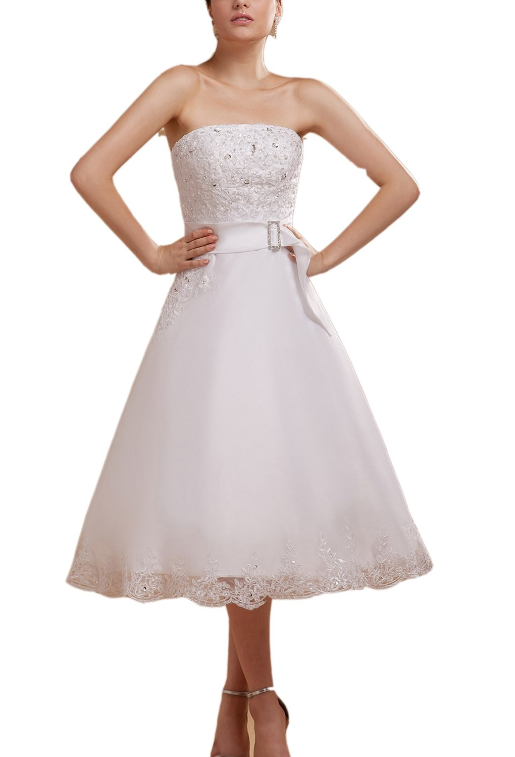 Albizia Women's Delicate A-line Knee-length Gerogia's Lace Wedding Dress