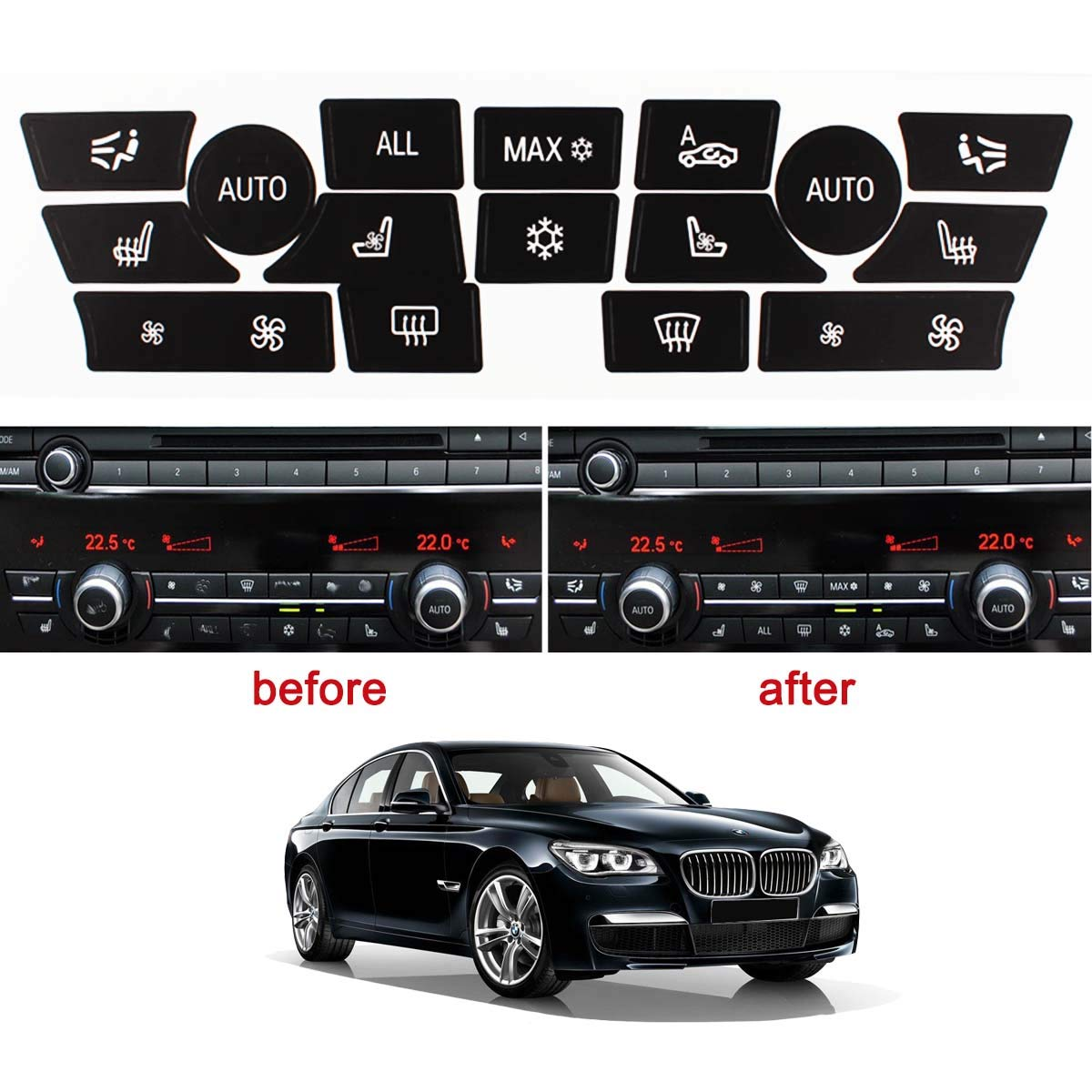 TOMALL AC Control Button Repair Stickers Kit for 2009-2014 BMW 7 Series F01 F02 Replacement Ruined Faded Buttons