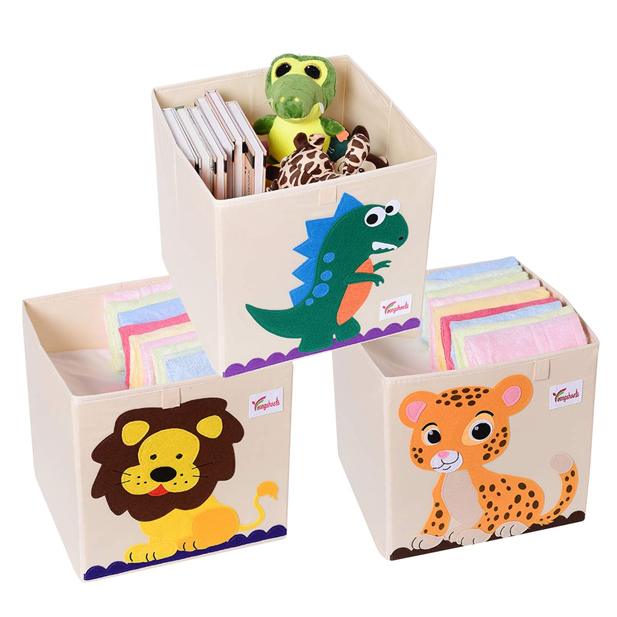 Bee SJINC Toy Storage Bins with Lids Toy Box Organizer Stackable Large Toy Chest for Girls Boys Kids