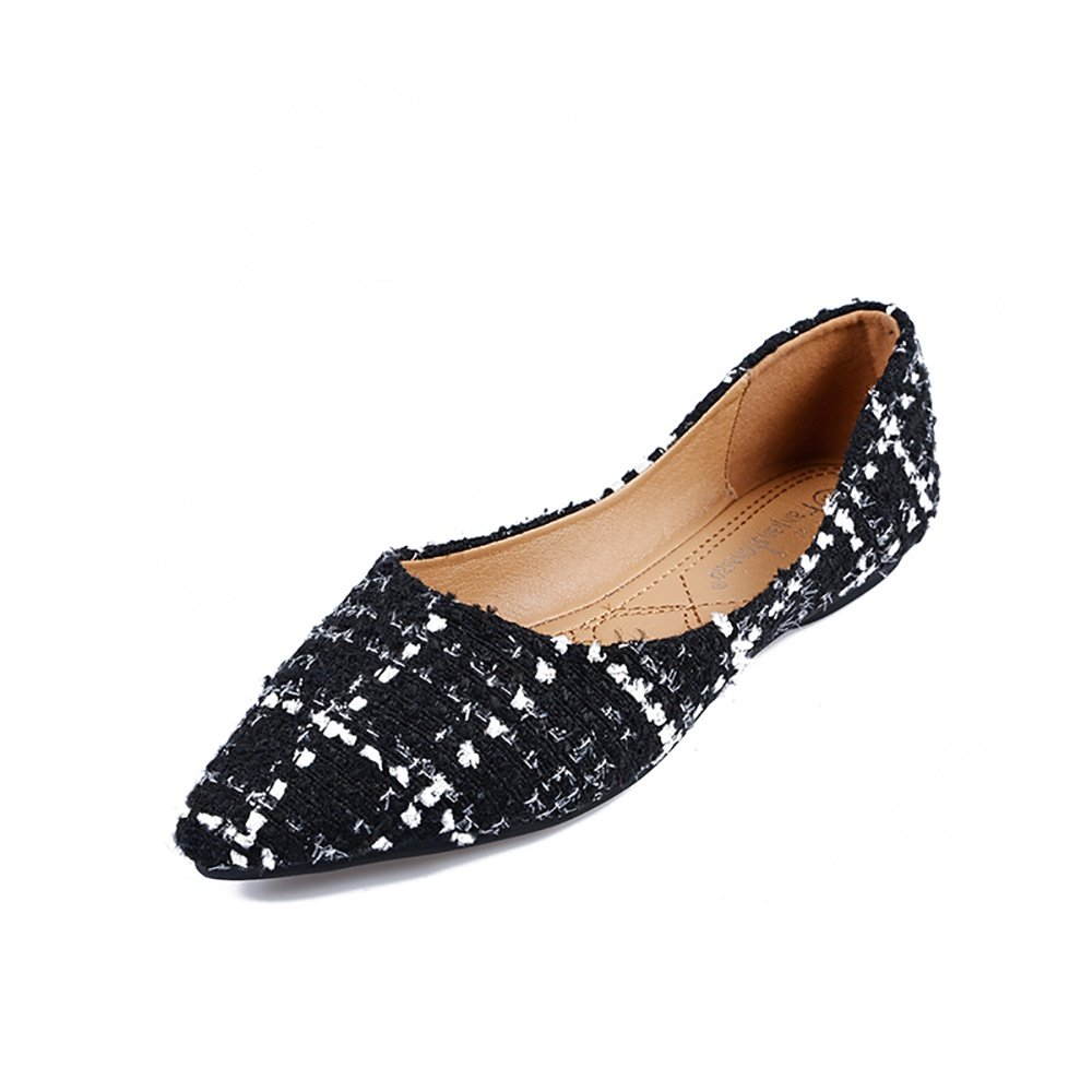 Meeshine Womens Classic Pointy Toe Ballet Flats Slip On Plaid Dress Flat Shoes Black-02 US 8