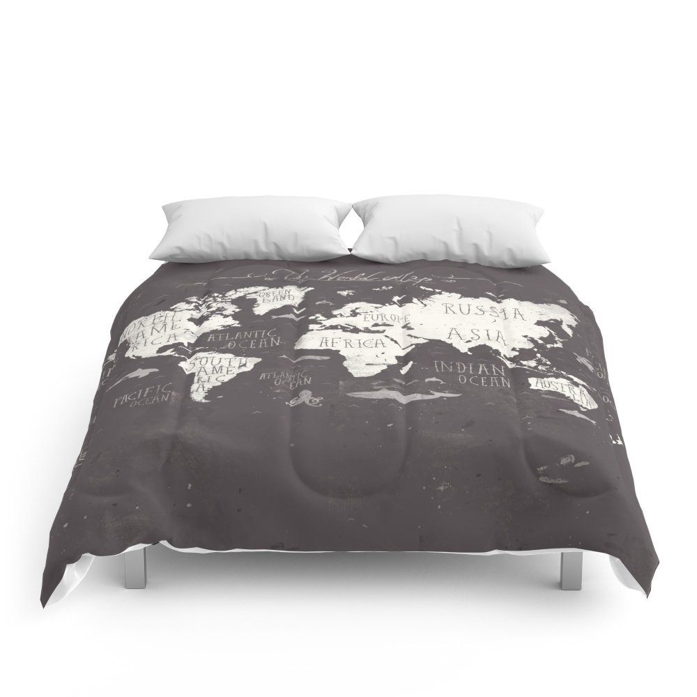 Society6 The World Map Comforters King: 104'' x 88''