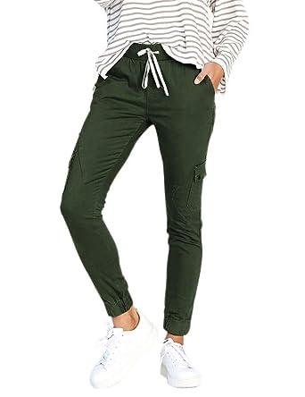 Frecoccialo Pantalon de Jogging Femme Elastique à La Taille Haute Pantalon  Chino Femme Jambes 7  5bc604a06b3