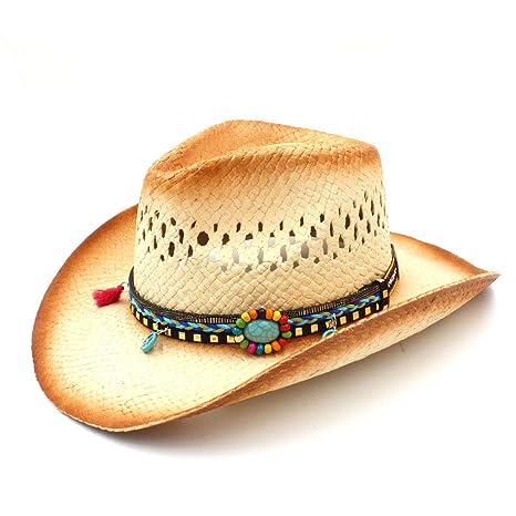 ZHJTMC Sombrero de Vaquero Sombrero de Paja Sombrero de Vaquero Tejido a Mano  Sombrero de Vaquero 9793e7a3c75