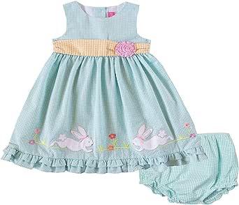 Good Lad Newborn/Infant Girls Turquoise Seersucker Dress with Bunny Appliques