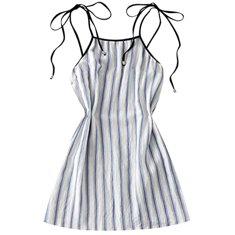 dc8f95d0cfabb0 ZAFUL New Women Cover ups Stripes Slip Mini Dress Beach A Line Spaghetti  Strap Sleeveless Cover ups for Women Color Light Blue Size M: Amazon.in:  Beauty