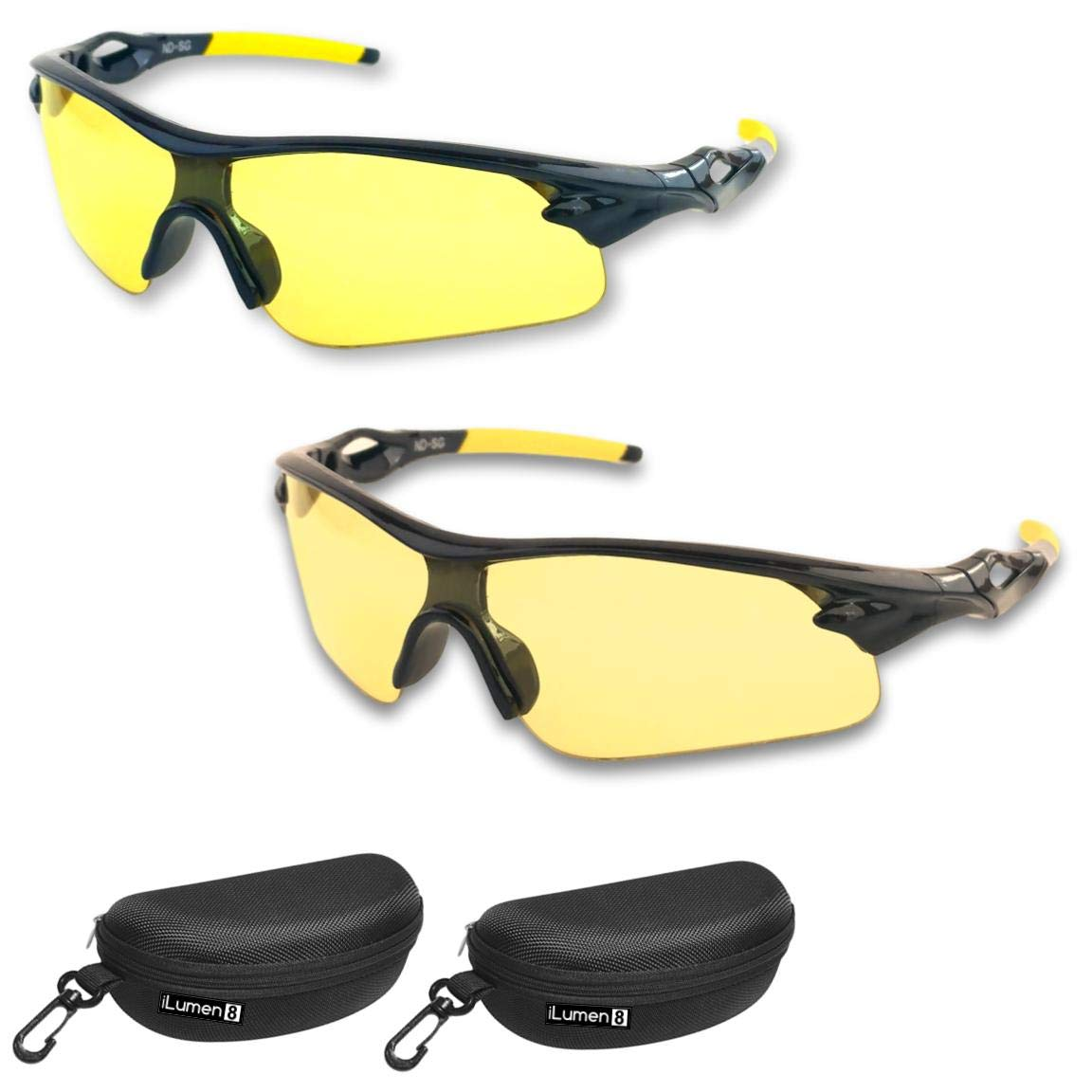 iLumen8 Best Shooting Glasses UV Blacklight Flashlight Yellow Safety Eye Protection See Dog Cat Urine with Amber Black Lights Night Vision Ultraviolet (Yellow & Amber-Yellow, 2 Pair)