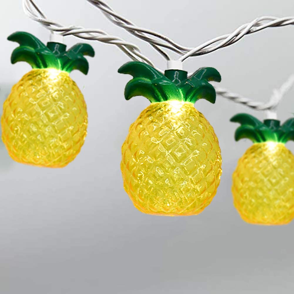 8.5Ft Pineapple Lights with 10 Pineapple Lights Mini Incandescent Outdoor String Lights, Summer Beach Themed & Tropical Party Decor, UL Listed for Indoor & Outdoor Use, IP44 Waterproof- White Wire