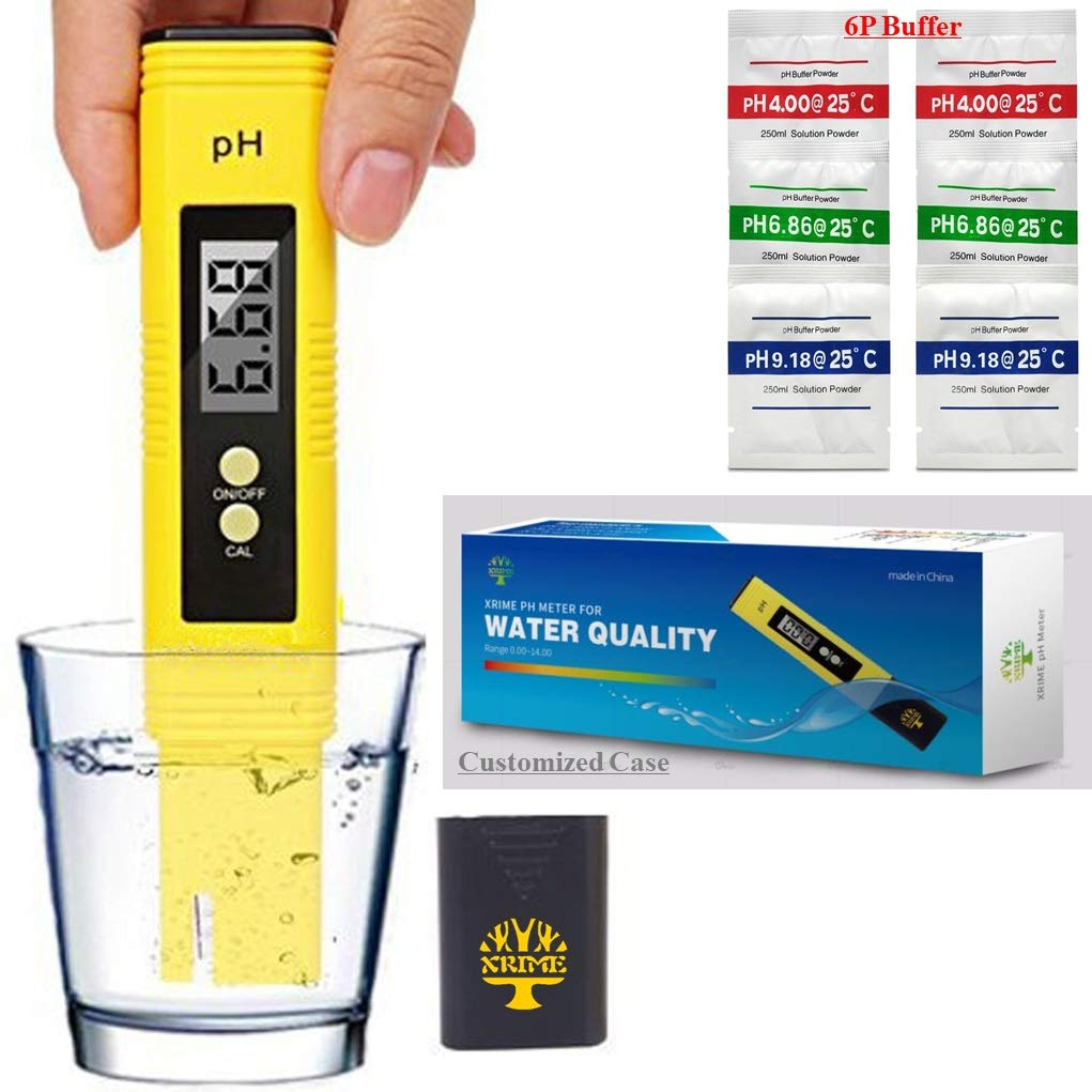 Digital Ph Meter Tester 0.01 PH Accuracy Water Quality Tester with ATC 0-14 Measurement Range with Plastic Box for House Water,Hydroponics,Aquariums,Pool,6 pH Buffer Packets calibration(with battery) by Xrime