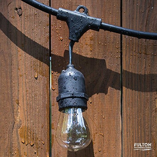 Fulton Illuminations S14 Outdoor String Lights with 15 Sockets and Bulbs, 3 Extra Bulbs and 13 Ft Extension Cord, 48 Feet - Commercial Weatherproof Patio String Lights by Fulton Illuminations (Image #7)