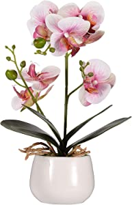 OneUstar Artificial Orchid Flowers in Vase for Home Office Decor Indoor Party Wedding Decoration Fake Orchid Pink