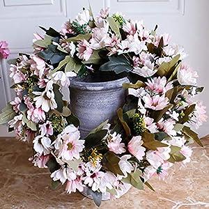 Shouyi Artificial Daisy Flower Wreaths Flowers Garland for Front Door Wall Home DIY Garden Office Wedding Decor 5