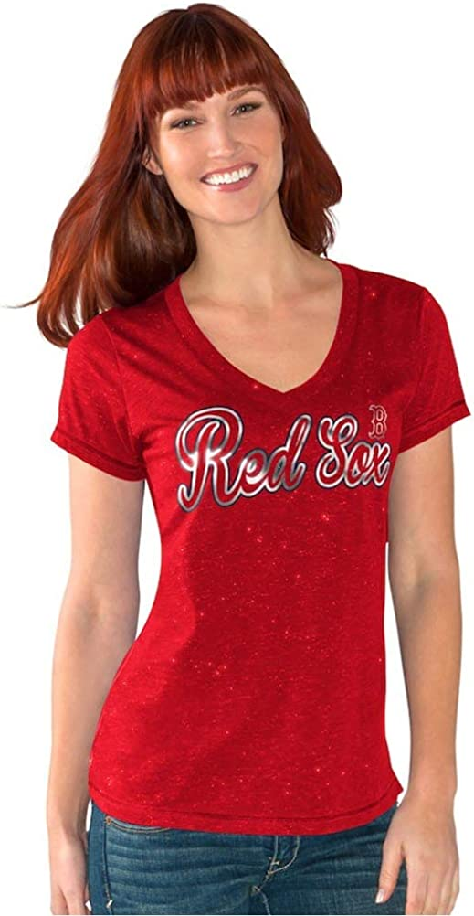 G-III Womens Boston Red Sox V-Neck Breakaway T-Shirt Red