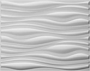 "Art3d Decorative 3D Wall Panels Big Wave Deisgn, 31.5""x24.6"" Matt White (6 Pack)"