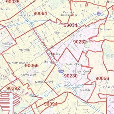 postal code los angeles zip code map