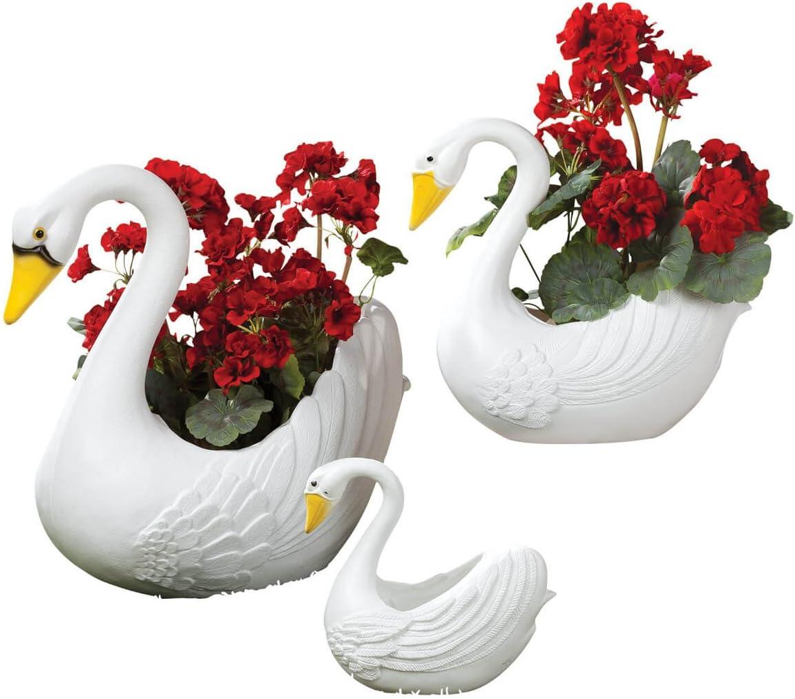 Fox Valley Traders Classic Indoor Outdoor White Swan Planters, Home Garden D cor, 3 Piece Set