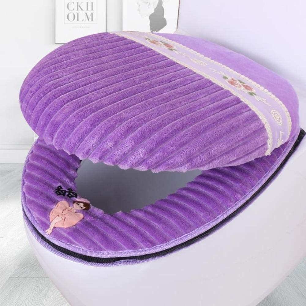 WC Un Set di Cuscini per la casa FGHOMEYWMTZQ WC Universale in Due Pezzi Tipo con Cerniera Sedile del Water Impermeabile-Diamond Gold Velvet Charm Purple-7I0