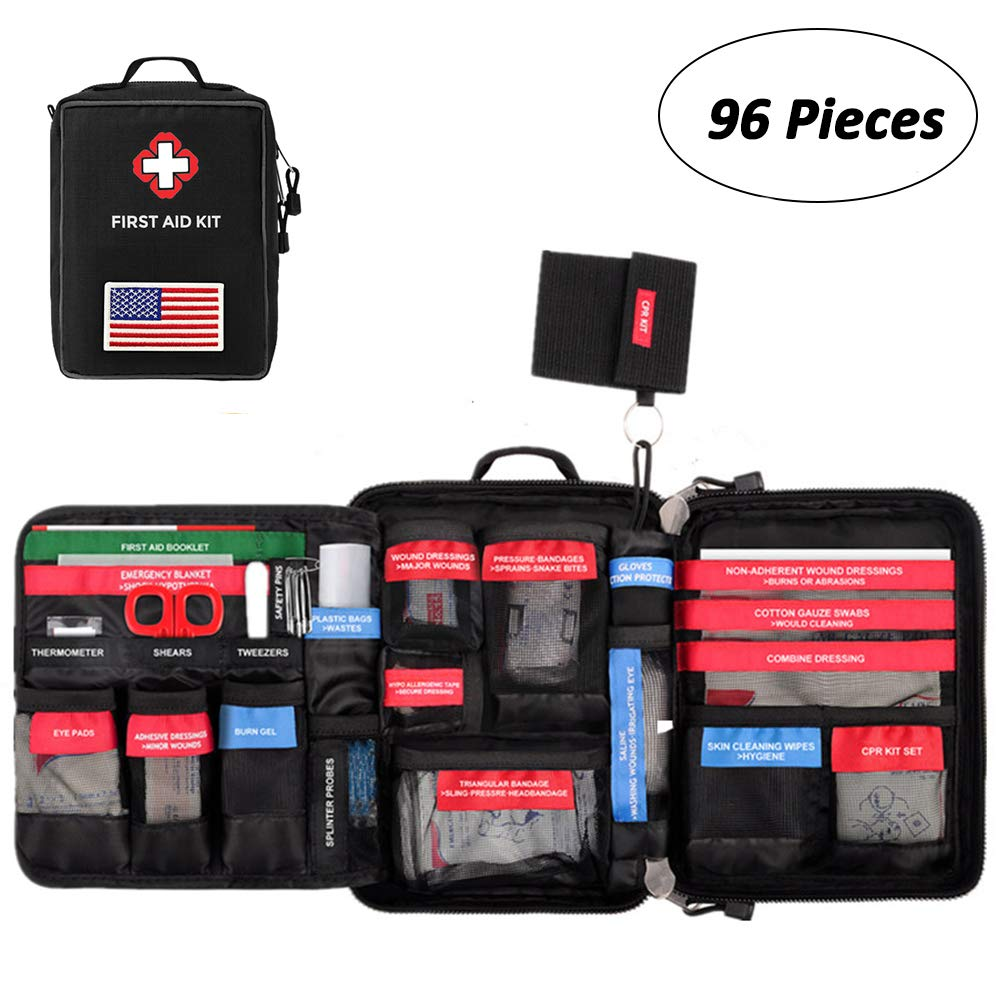CS Force First Aid Kit Molle Medical Pouch Waterproof Emergency Bag for Home, Outdoors, Car, Camping, Workplace, Hiking & Survival (FDA Approved) by CS Force