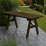 A & L Furniture Yellow Pine Traditional Picnic Table with 2'' Umbrella Hole, 5', Unfinished