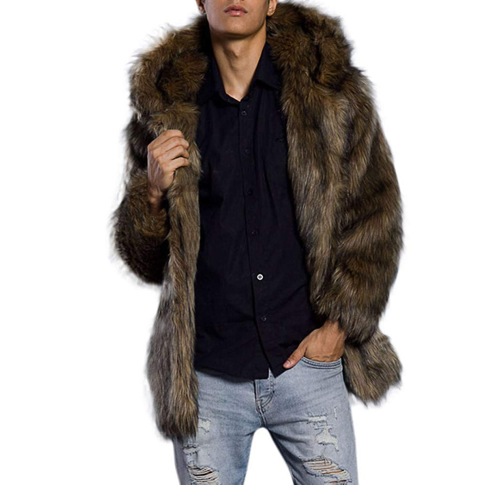 Kemilove 2018 HOT Mens Leopard Warm Thick Fur Collar Coat Jacket Faux Fur Parka Outwear Cardigan