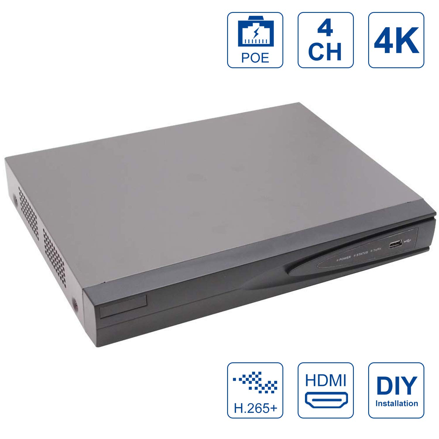 4CH NVR Network Video Recorder, Support 1-ch HDMI, 1-ch VGA, HMDI at up to 4K(3840x2160) Resolution Plug & Play,Up to 6T(No HDD Include)