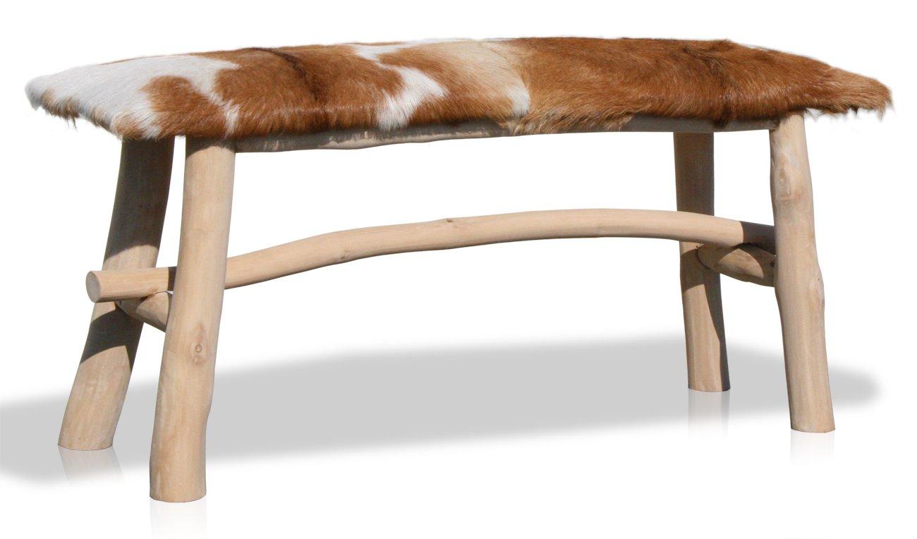 LioLiving®, Sitzbank Yunan aus echtem Ziegenfell und Massivholz ( 400012)