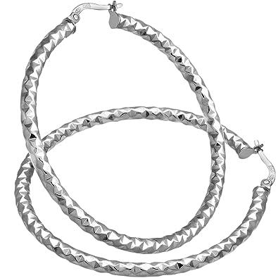 Citerna Diamond Cut 40 mm Hoop 9 ct White Gold Earrings D0LXWKrynJ