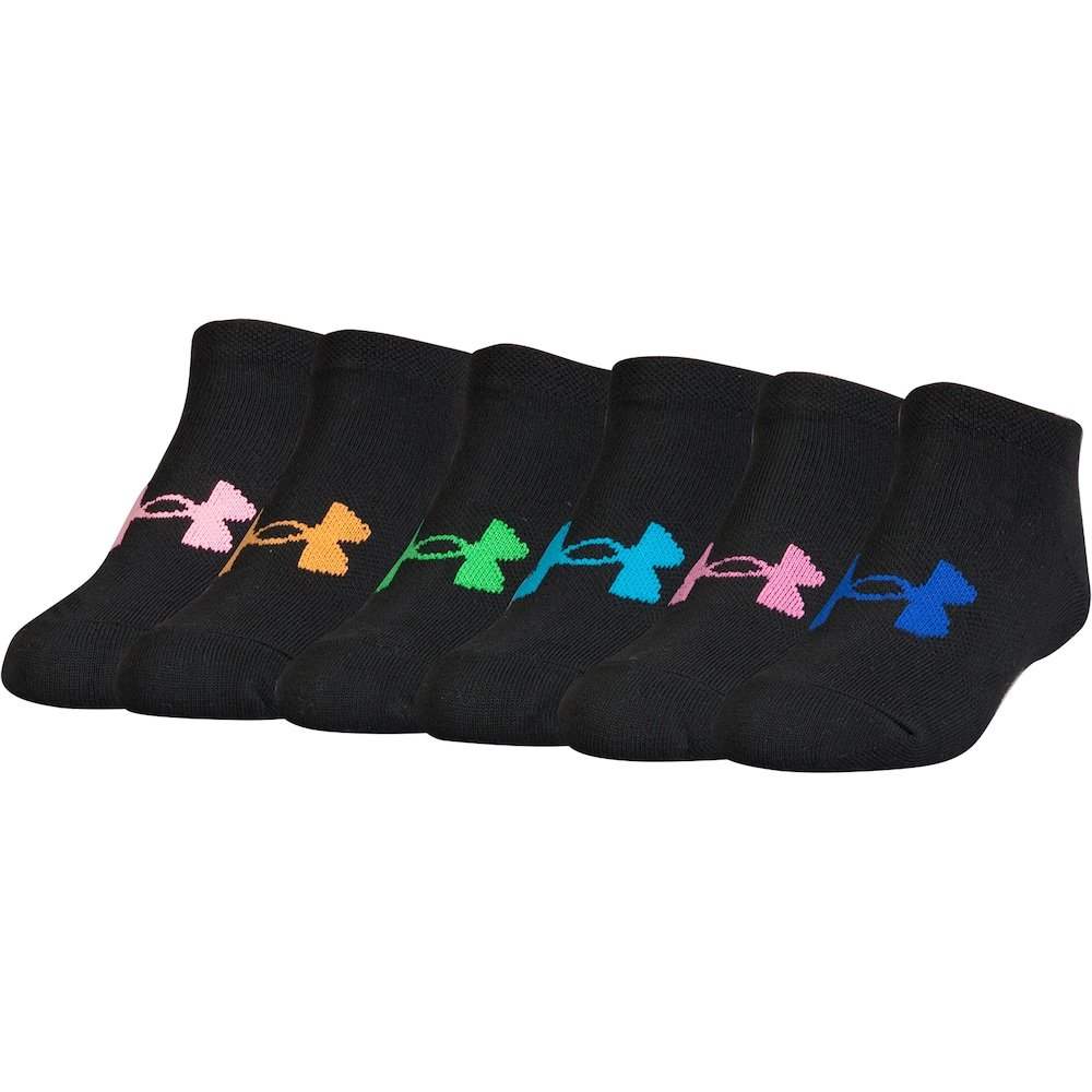 Under Armour Essential Twist No Show - 6 Pack Girls' Sock (Youth Small (Youth Shoe Size 13.5K-4Y), Black(U3881L6-961)/Rainbow/Black) by Under Armour