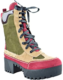 27fb68a022db Bambo Powerful 06S Womens Chunky Heel Platform Lug Sole Military Combat  Boots