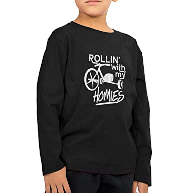 Rhfjgk Ldjg Rollin with My Homies Youth Boys Long Sleeve T-Shirt Cotton