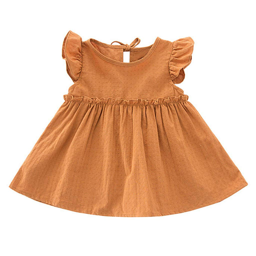 Cute Toddler Kids Baby Ruffle Solid Linen Elegant Princess Party Dress Clothes Willsa Girls Dresses