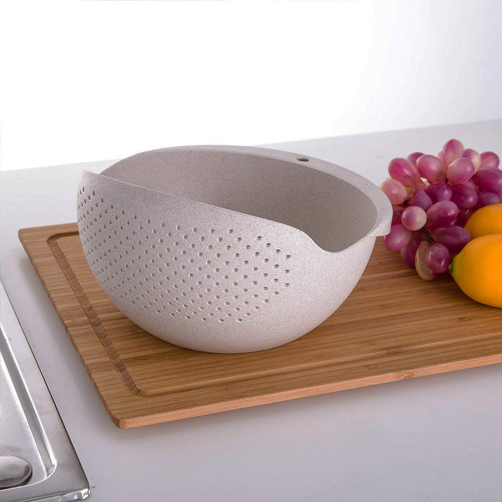 Tcplyn Durable Plastic Rice Wash Strainer Rice Basket Rice Wash Sieve DIY Kitchen Supplies for Washing Rice Use 1PCS Beige
