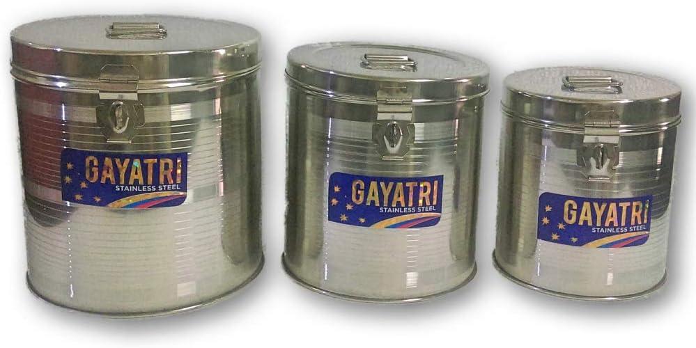 ステンレススチールラウンドKADI ダバキャニスターコンテナ 2~3 – 4 kg食品/生地/液体容量ストレージボックス 3ピースセット ヒンジロック可能
