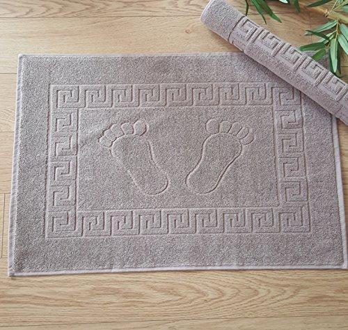 Secret Sea Collection  Set of 2 High Quality 100% Soft Cotton Super Absorbent Footprint Bath Mat Towel Foot Towel Bath Mat for Shower and Floor 20#039#039x28#039#039 Brown