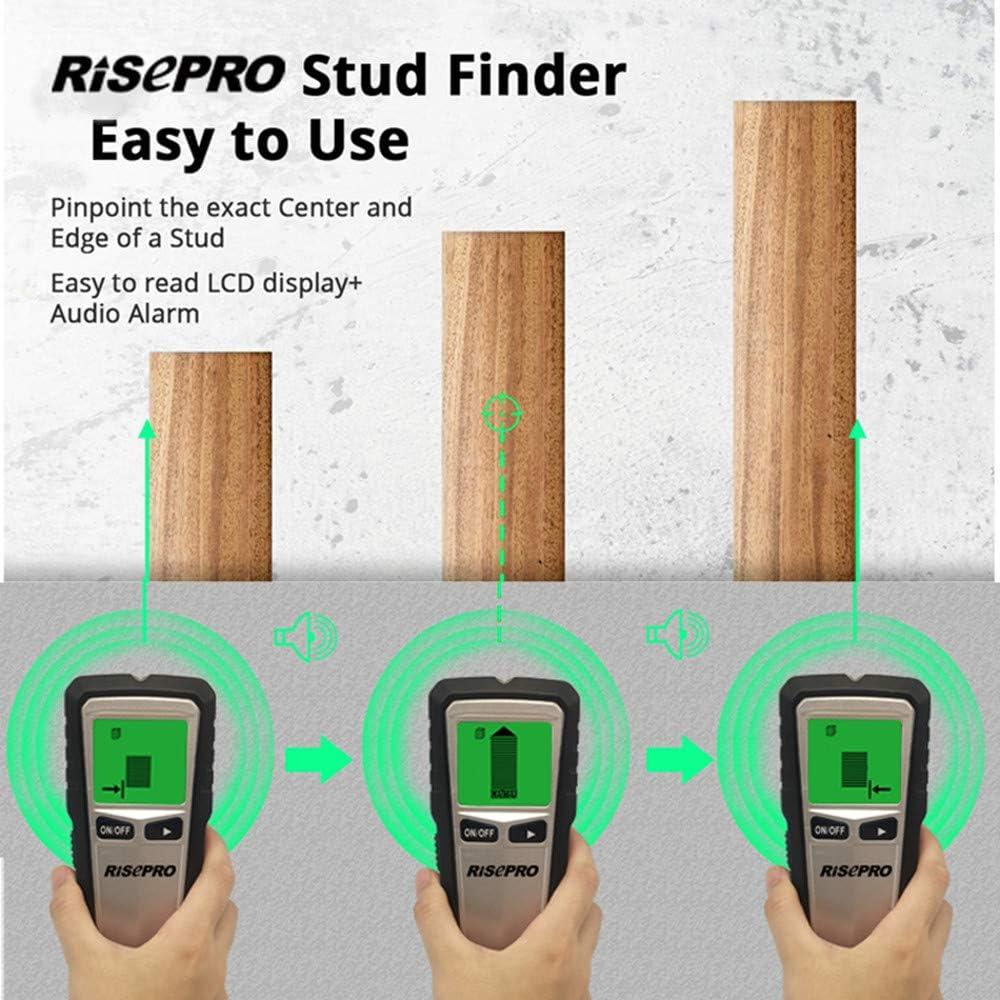Avviso acustico per legno metallo 5 in 1 Electronic Stud Sensor Beam Joist Finders Display LCD Rilevatore a parete Rilevamento del centro RISEPRO Wall Finder Sensor Scanner CA Rilevamento cavi