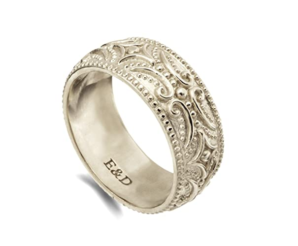 Amazon.com: Solid gold wide wedding band tribal patterned boho